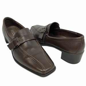 Ecco Slip On Brown Buckle Loafers Contrast Stitch